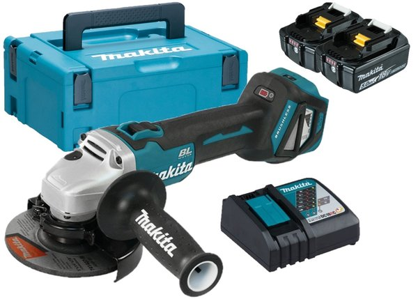 Makita DGA513RTJ 18V Brushless Haakse slijper set (2x 5.0Ah) - ADT AFT - 125mm