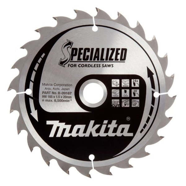 "Makita B-09167 Cirkelzaagblad 24T 165mm x 20mm ""Specialized"""