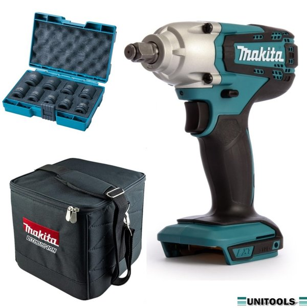 "Makita DTW190Z 18V Slagmoersleutel (body) 190Nm - 1/2"" + doppenset in kubus tas"