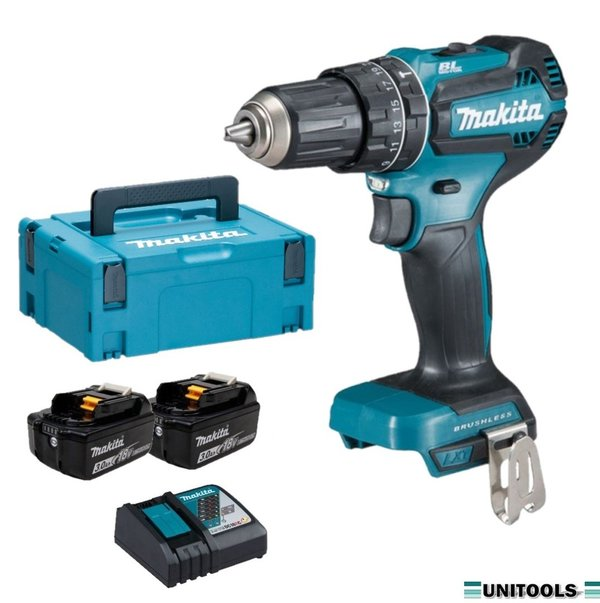 Makita DHP485RFJ 18V Brushless Klopboor-/schroefmachine set (2x3.0Ah)